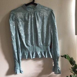 NWT Silky Seafoam Blue Long Sleeve Blouse